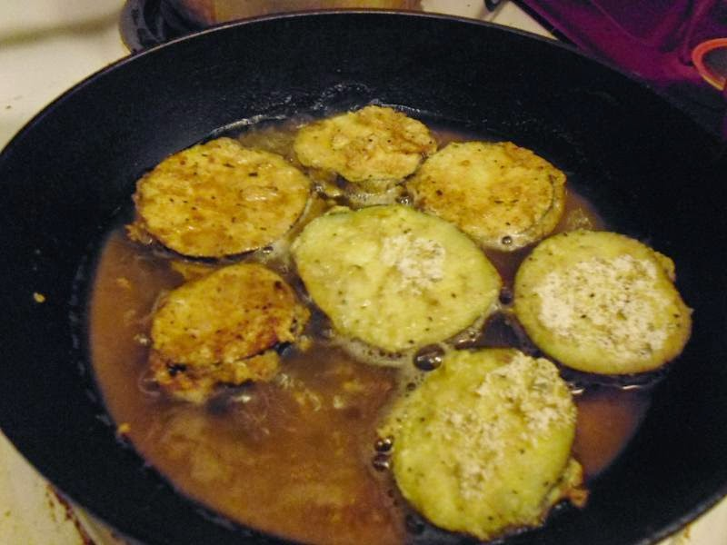 Fried eggplant halfway done