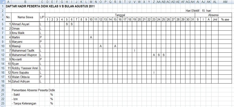 Contoh Format Daftar Hadir Siswa Menghitung Jumlah Dan