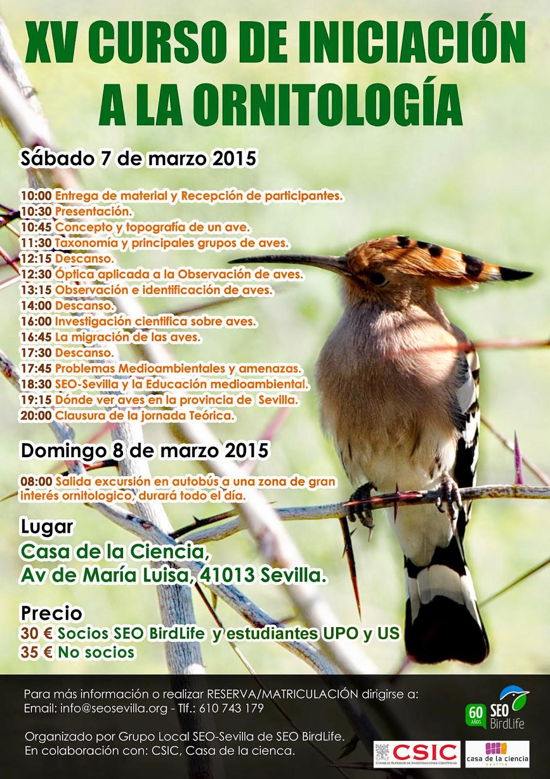XV Curso de Iniciación a la Ornitología, Edición 2015. Ver, conocer y conservar las aves y sus hábitats. Grupo Local SEO-Sevilla de SEO/BirdLife