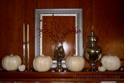 white, pumpkins, silver, mantel, decor