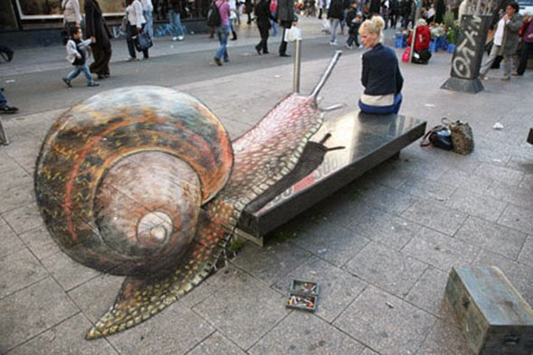 Street Art with a bench