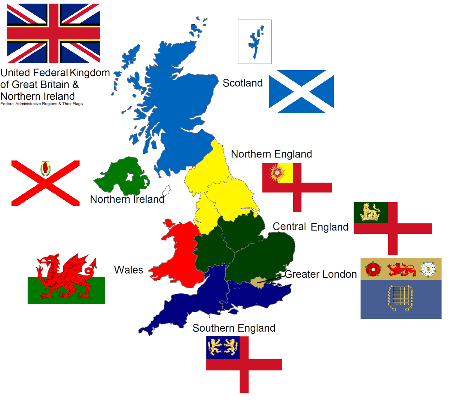 flags in the uk map