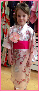 Little Girl wearing Japanese Kimono from Kimono House NY