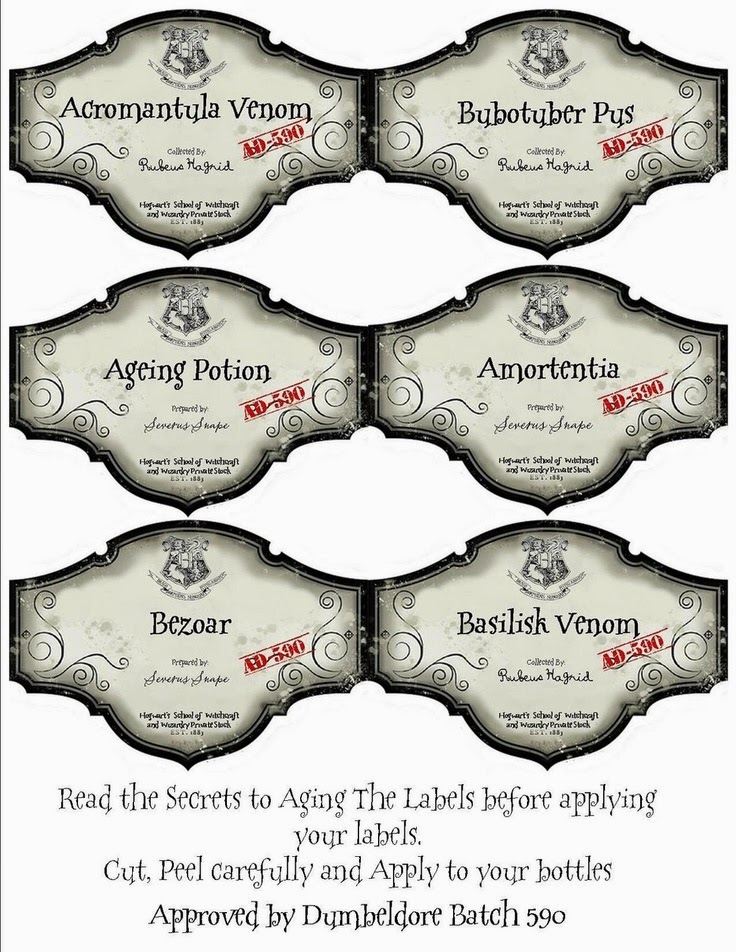 image about Harry Potter Apothecary Labels Free Printable identify Our Harry Potter celebration toss down