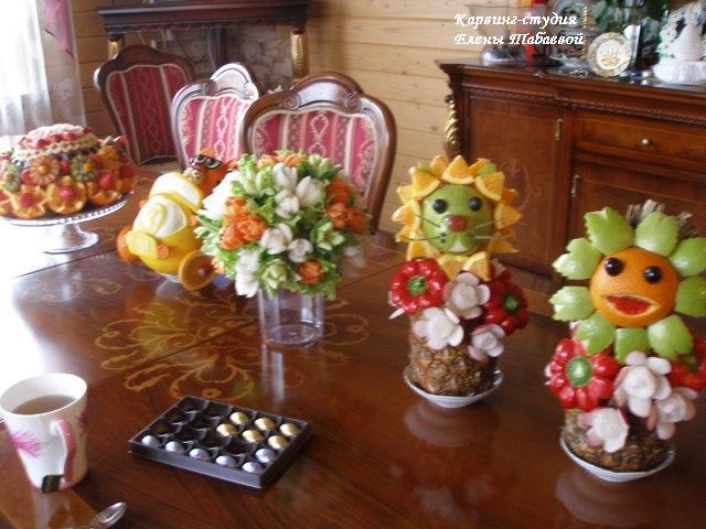 фруктовые фигурки, торт из арбуза, букет из овощей