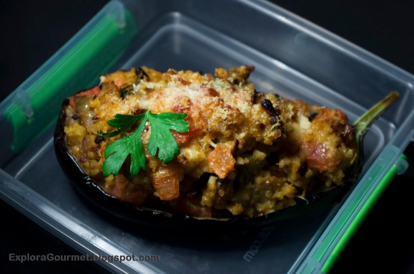 Berenjena rellena de mijo y tomate - lunch box