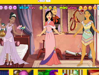 Juego de vestir a Pocahontas, Mulan y Tiana