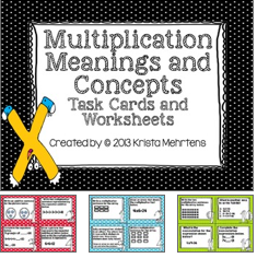 http://www.teacherspayteachers.com/Product/Multiplication-Meanings-and-Concepts-Task-Cards-and-Worksheets-997028