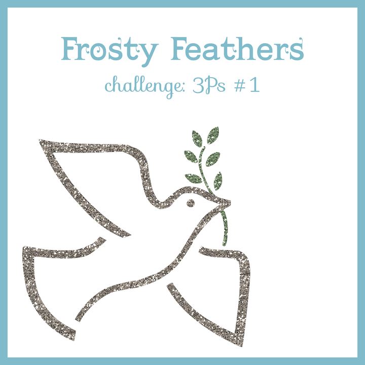 glitter dove with olive branch, Frosty Feathers challenge graphic