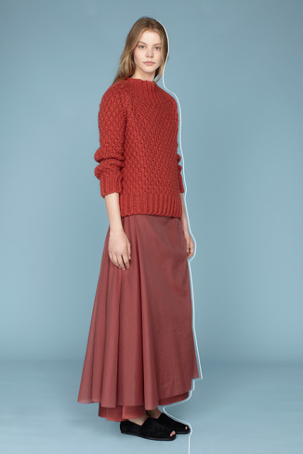 The Row, Resort 2014 - dusty rose fishermen's sweater. long skirt gathered at the hip