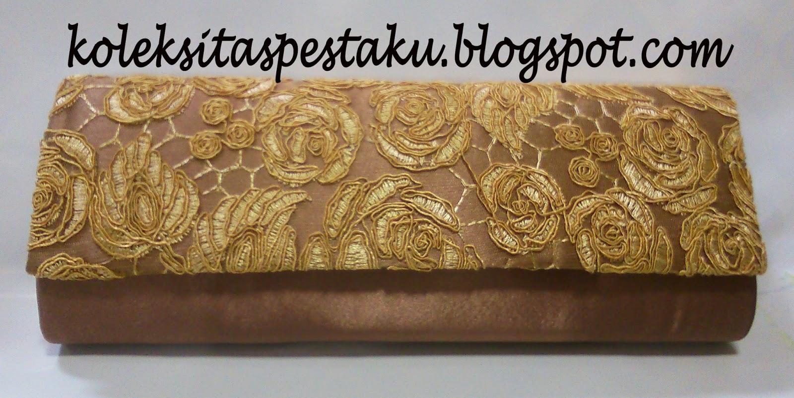 Tas Pesta Clutch Bag Satin Coklat Muda Balut Broklat Gold Mewah