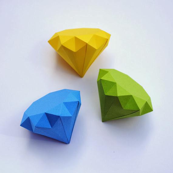 3D Paper Diamond Origami