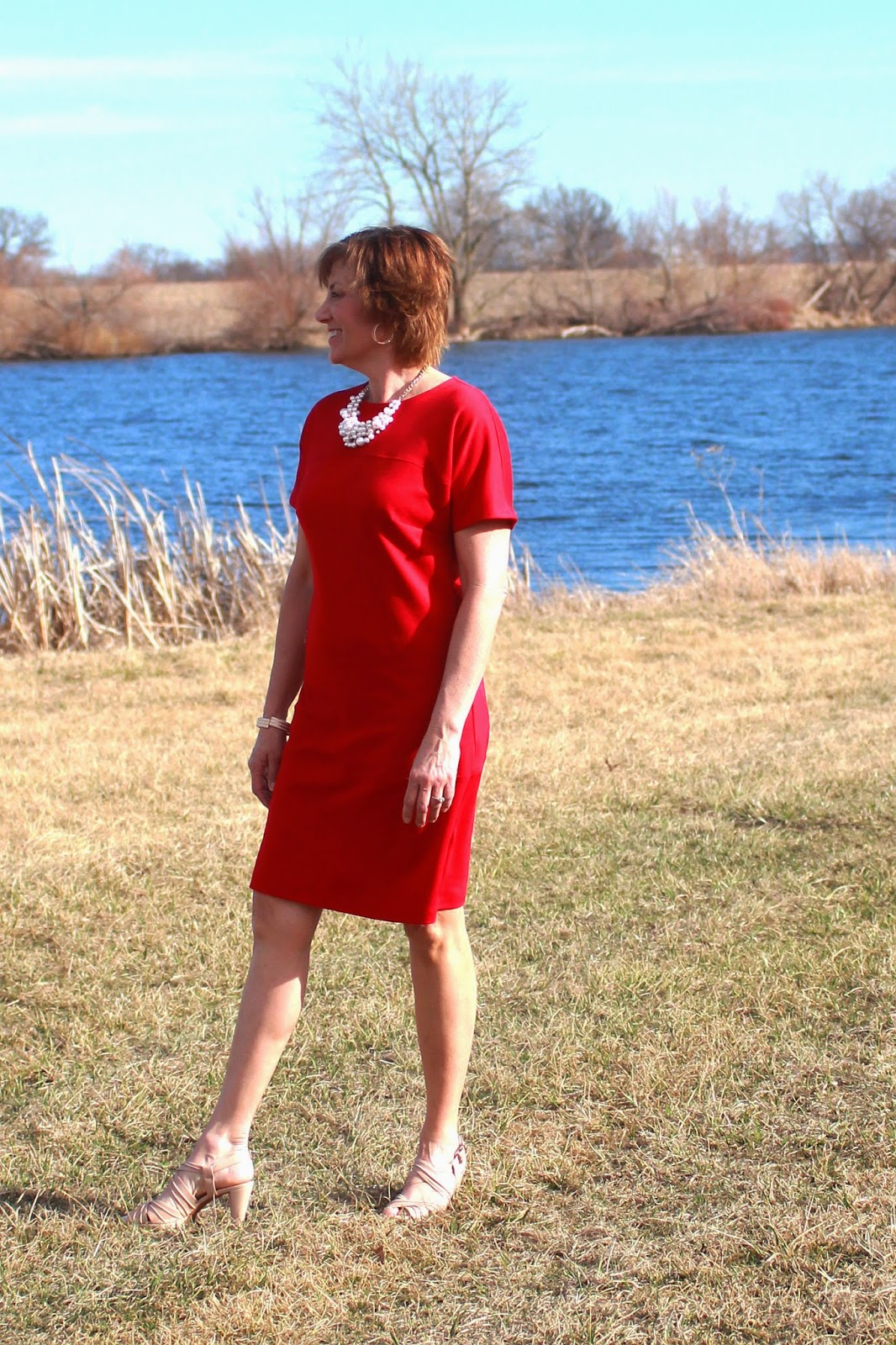 Red ponte knit dress, three sections for fabric fun in Vogue 8805