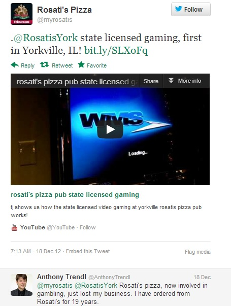 Rosati's Pizza Twitter Post about Their New Video Gambling Machine
