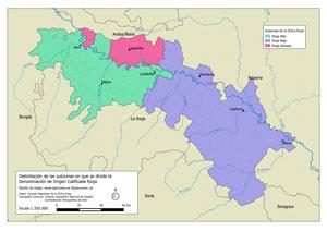 Mapa de subzonas de la DOCa Rioja