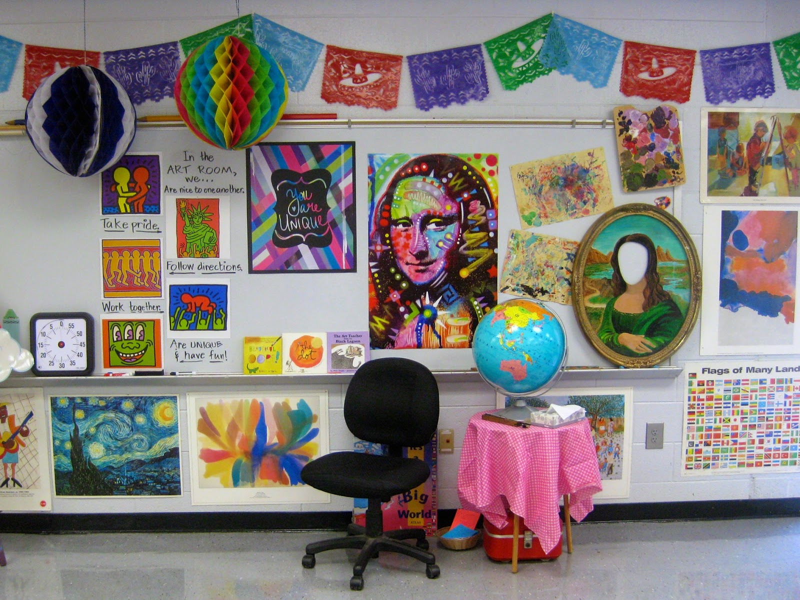Cassie stephens in the art room a virtual tour of the art room - Classroom wall decor ...