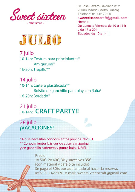 Calendario de talleres julio en Madrid, ganchillo, costura, amigurumis....