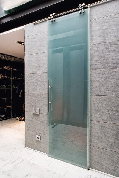 Sliding doors materials and structures in the modern style for Sliding door mechanism