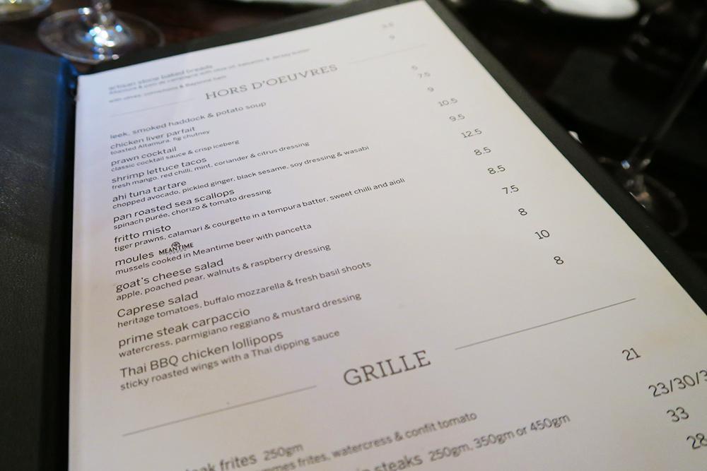 Hors d'Oeuvres/Starters menu at Malmaison Leeds Brasserie