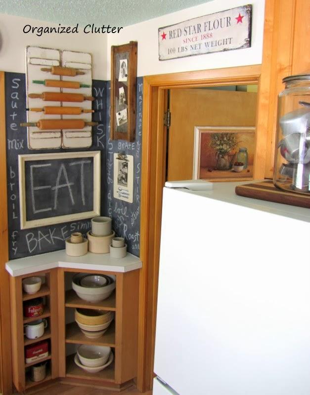 Kraut Cutter, Rolling Pin Display & Chalkboard Cooking Verbs www.organizedclutterqueen.blogspot.com
