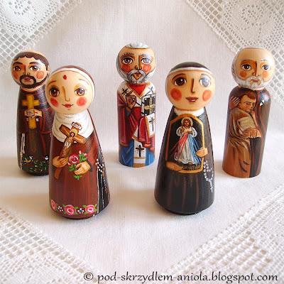 Drewniane malowane figurki świętych Jezus Chrystus Maryja Dziewica