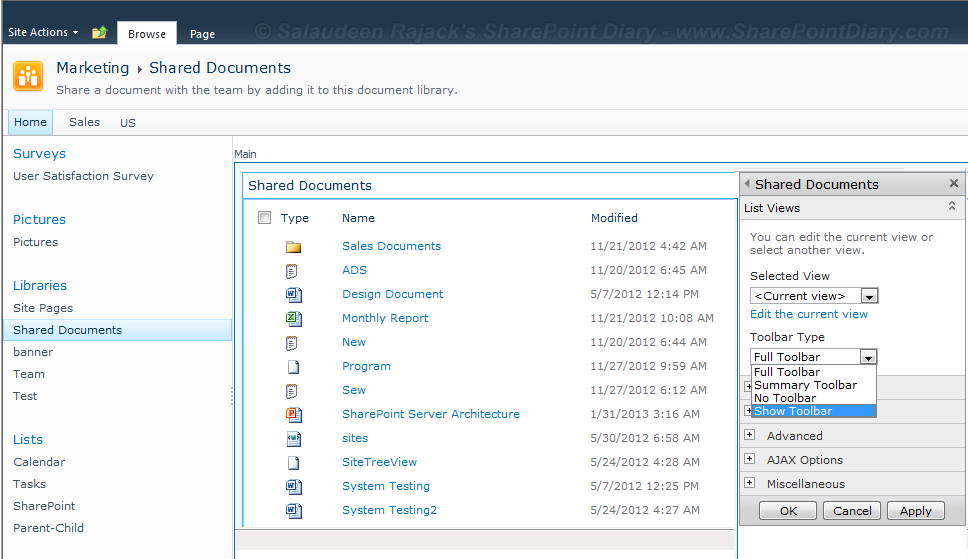 sharepoint 2010 list view show toolbar