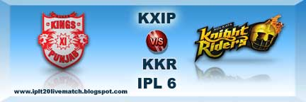 KXIP vs KKR Full Match Live Streaming Video and IPL 6 Logo