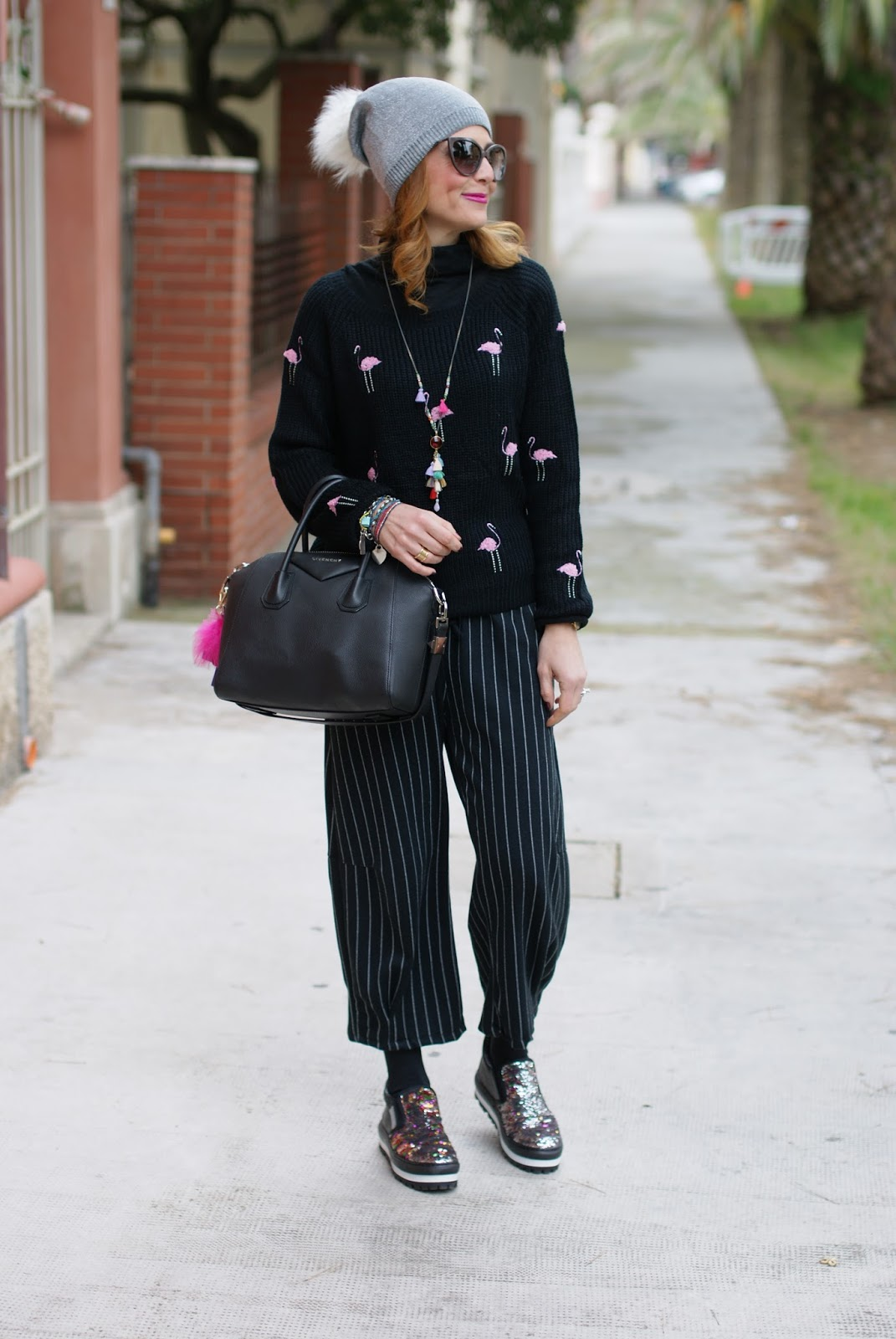 Flamingo sweater, pinstripe culottes and slip on sequin sneakers, casual feminine outfit on Fashion and Cookies fashion blog, fashion blogger style