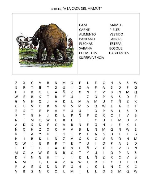 Sopa de letras sobre el mamut gratis