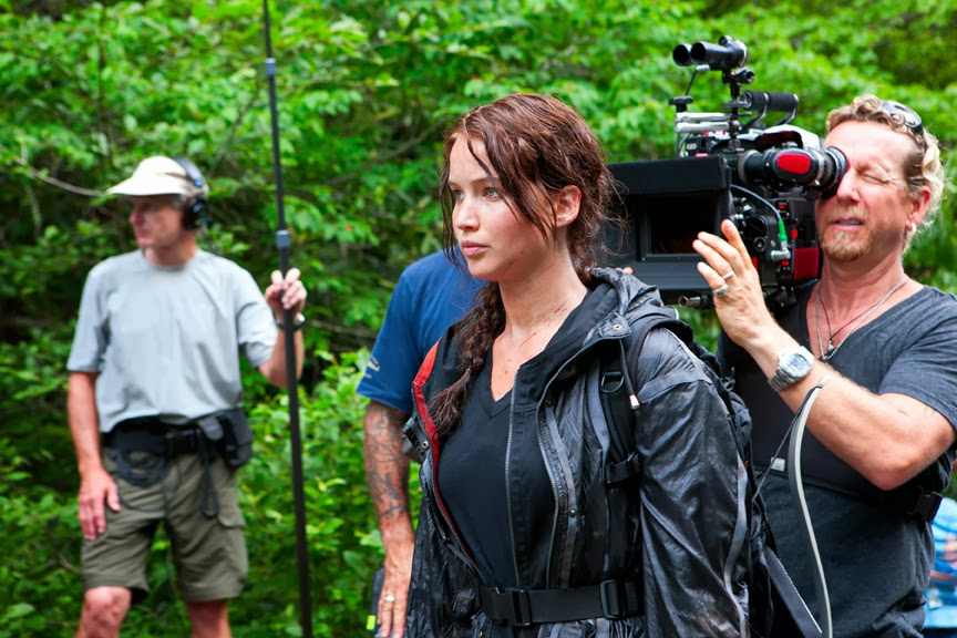 Jennifer Lawrence on set for The Hunger Games in WNC