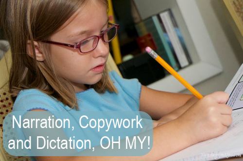An explanation of how to implement copywork, narration and dictation into your Charlotte Mason style homeschool. #homeschool #charlottemason