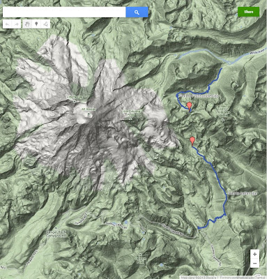 Topo Map Showing Indian Bar Hike Route (Google Maps)