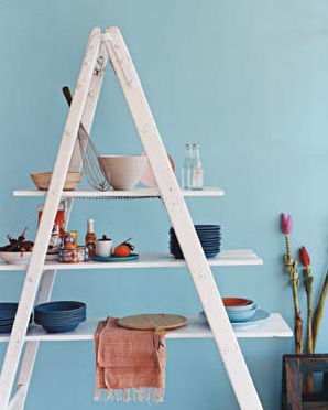 diy shelves from ladder