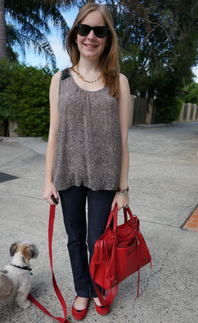 Casual Friday Printed Top Maternity Jeans Red Accessories