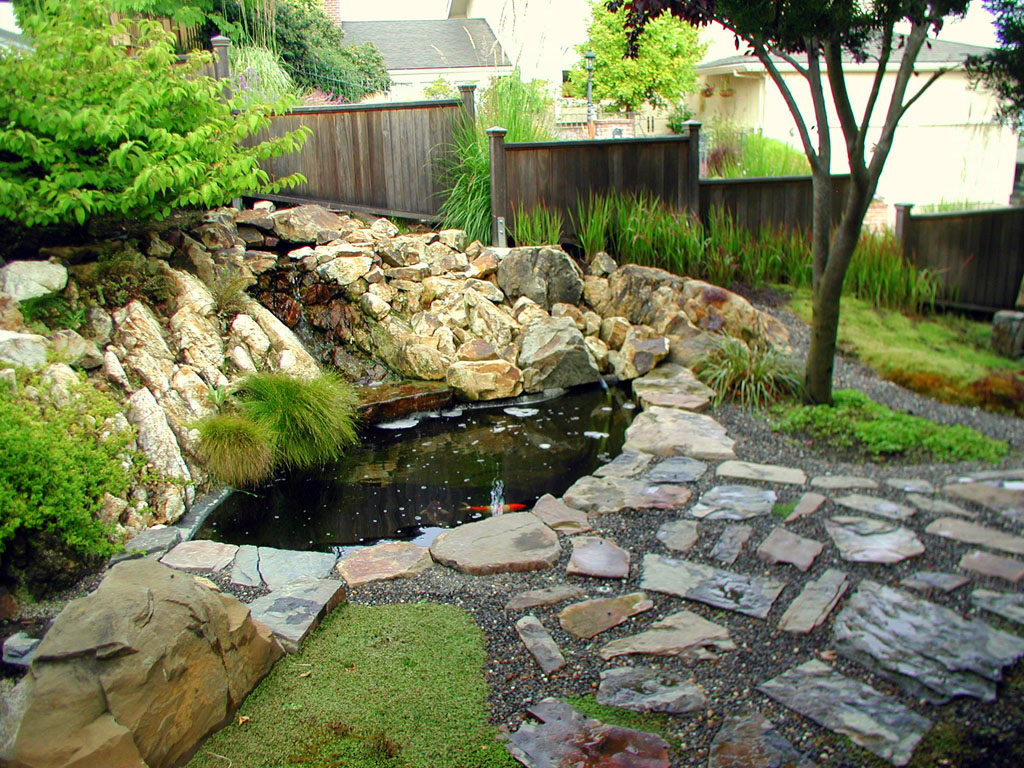 Koi pond garden landscape design for Landscaping around a small pond