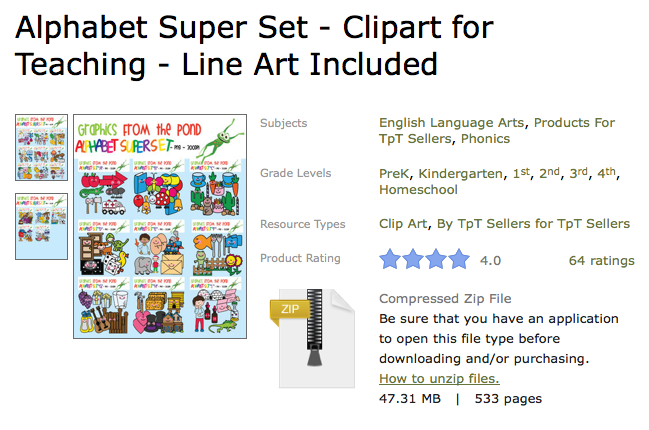 http://www.teacherspayteachers.com/Product/Alphabet-Super-Set-Clipart-for-Teaching-Line-Art-Included-490535