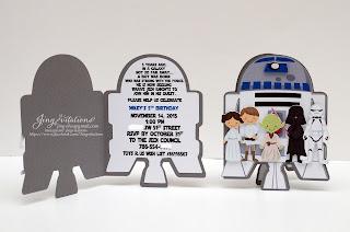 handmade invitations, starwars birthday,