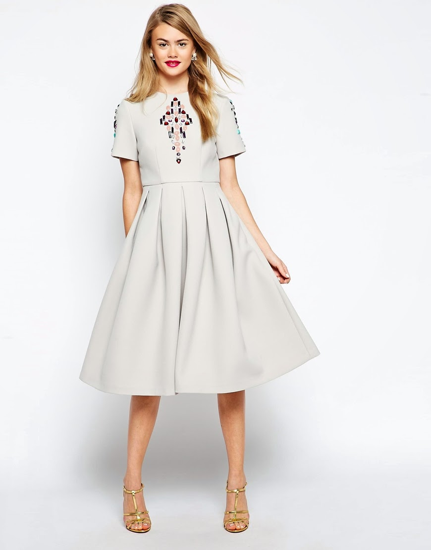 grey full skirt dress, asos grey stone dress,