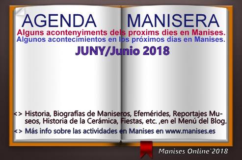 AGENDA MANISERA, JUNY/JUNIO 2018