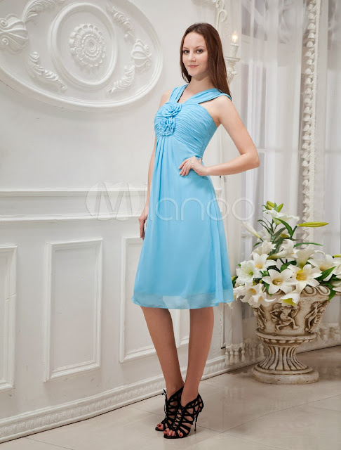 China Wholesale Homecoming Dresses - Blue Flower Chiffon Tea Length Summer Prom Dress