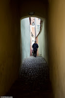 Old Man on Narrow Street Brasov