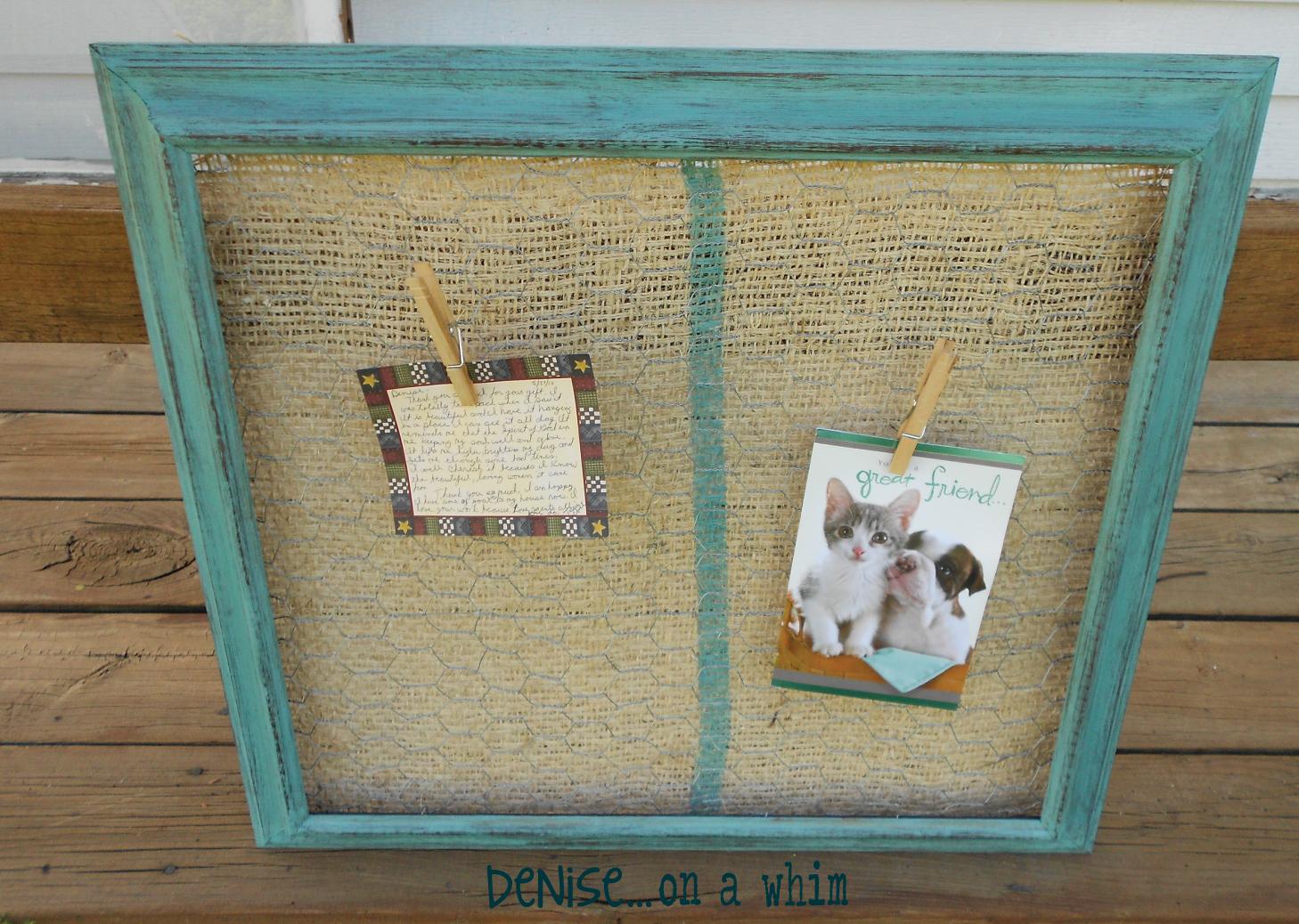 denise...on a whim: Chicken Wire Memo Board