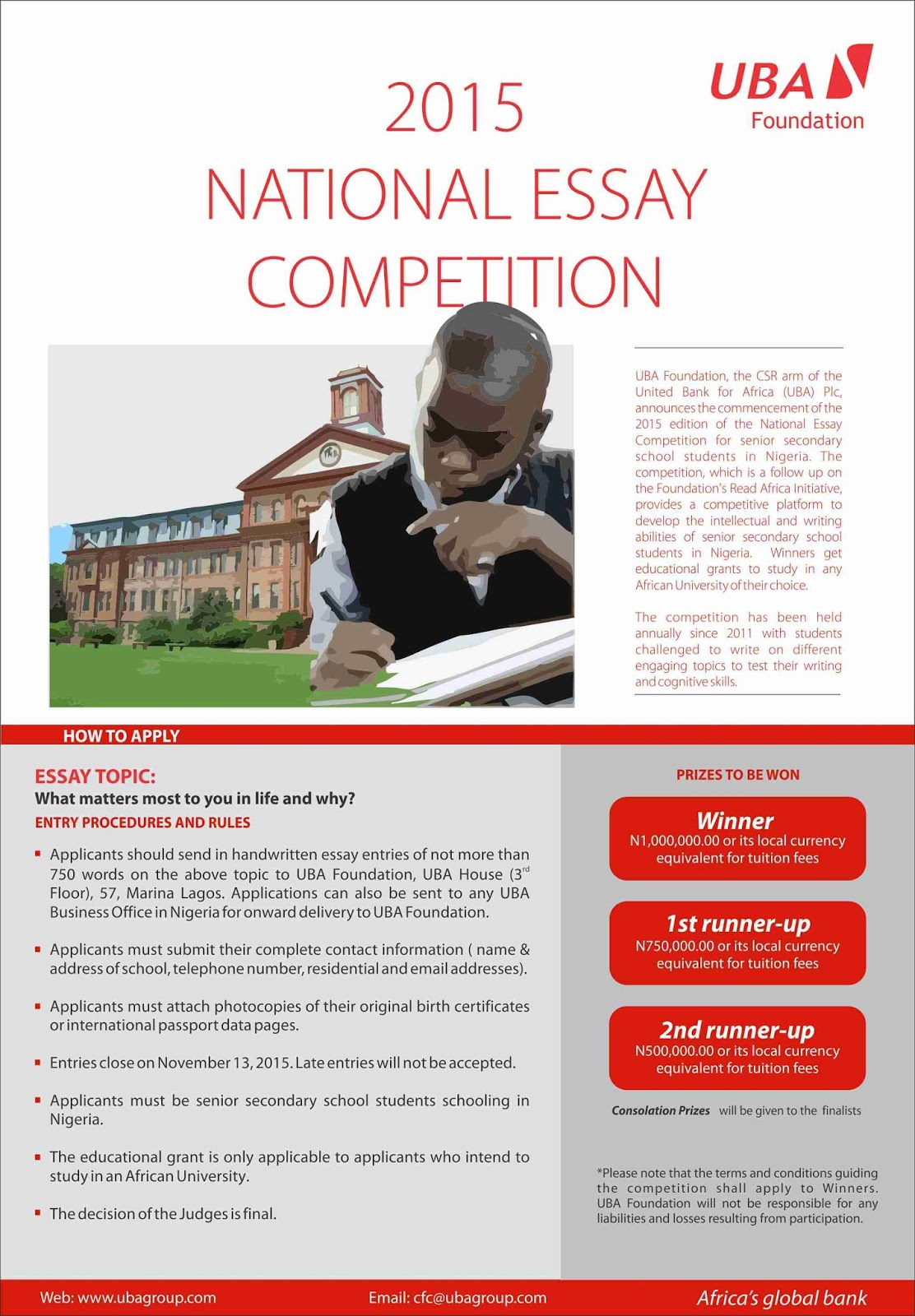 students submit entries for uba foundation essay competition the  students submit entries for uba foundation essay competition