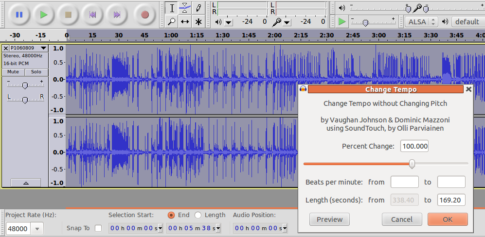 how to change tempo in audacity
