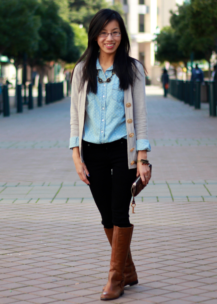 fall outfit layering cardigan over chambray look outfit idea