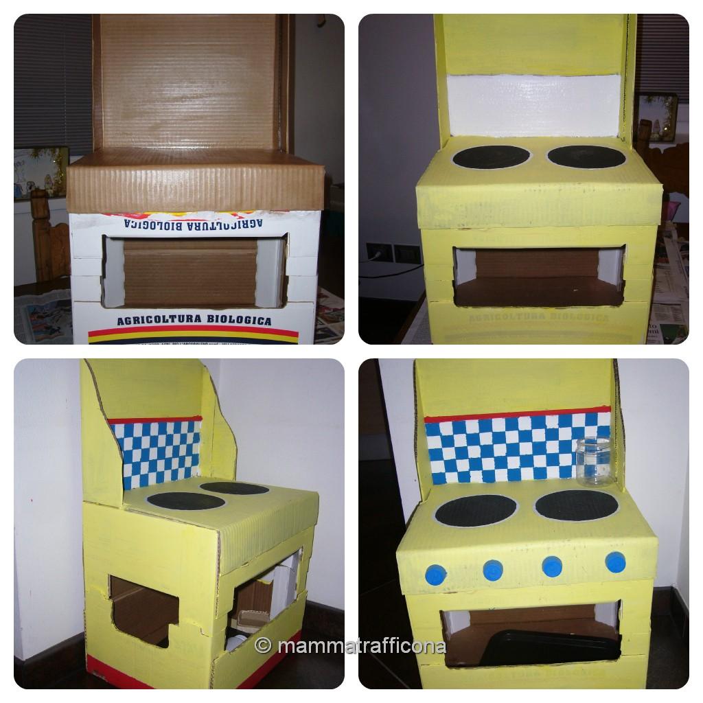 Mammatrafficona giochi fai da te la cucina di cartone for Bancone in legno fai da te