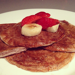 Strawberry Banana Protein pancakes Recipe