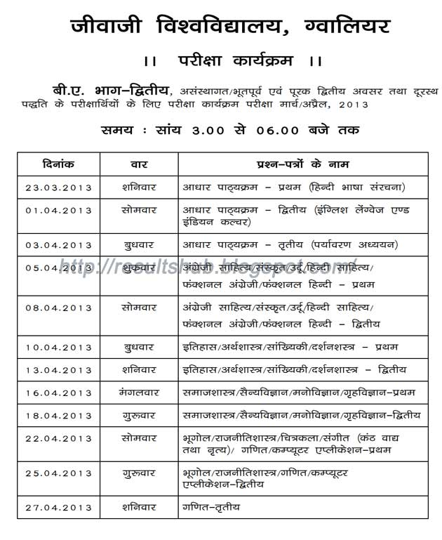 Jiwaji University BA Part 2 Timetable 2013