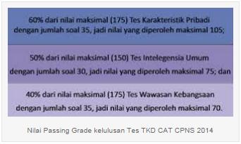 Nilai Passing Grade Lulus TKD CPNS 2014
