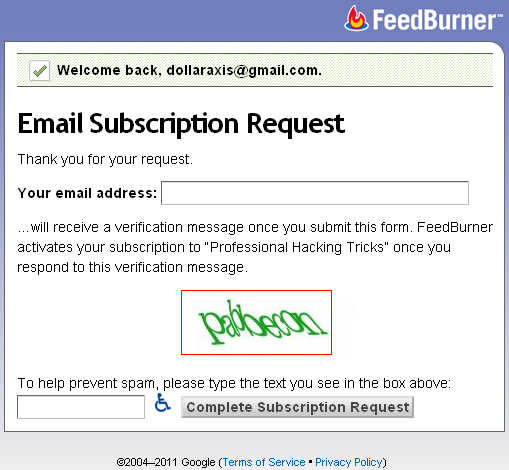 Email Subscription Request